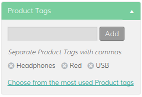 A screen capture of the product tags meta box.